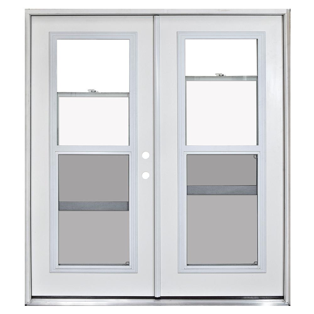 72 in. x 80 in. Fiberglass Primed White Prehung Left-Hand Inswing Venting Patio Door