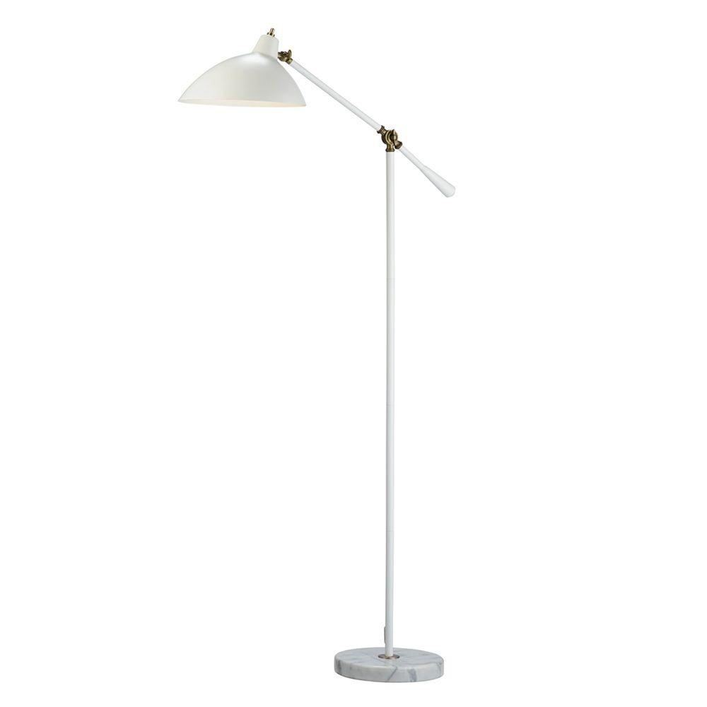 Adesso peggy 59 12 in white floor lamp with marble base 3169 02 white floor lamp with marble base audiocablefo