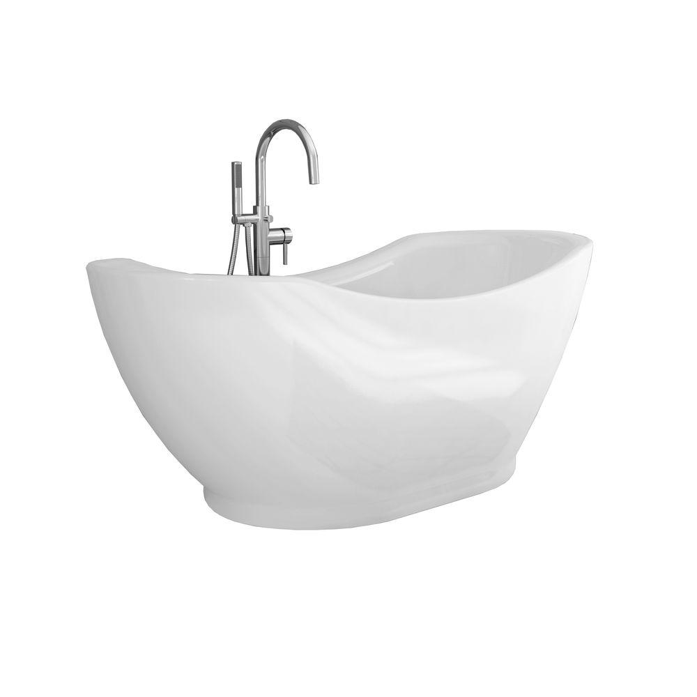 Genial Acrylic Freestanding Flatbottom Non Whirlpool Bathtub In White