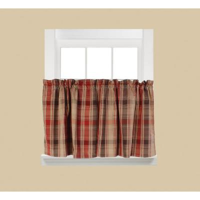 Cooper Red Polyester Rod Pocket Tier Curtain - 58 in. W x 24 in. L