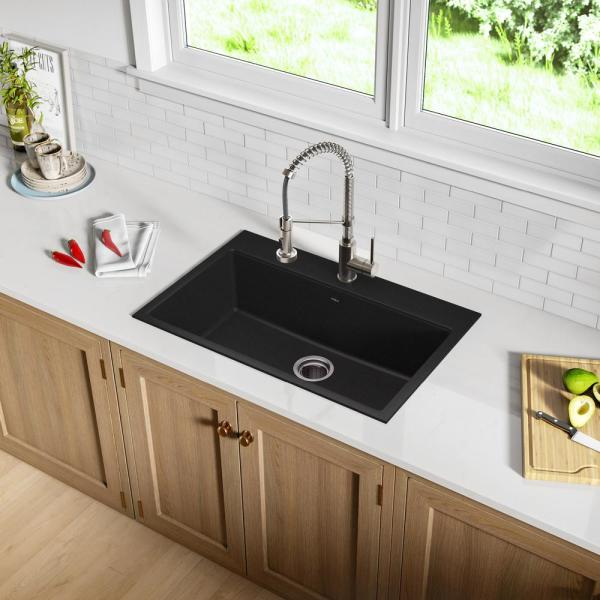 Kraus Drop In Undermount Granite Composite 31 In 1 Hole Single Basin Kitchen Sink Kit In Black Onyx Kgd 412b The Home Depot