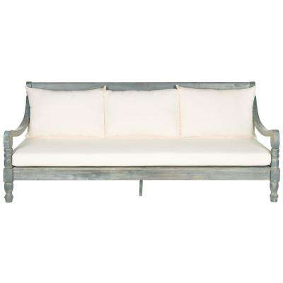 Pasadena Ash Grey Wood Outdoor Day Bed with Beige Cushions