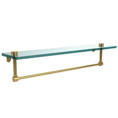 22 in. L  x 5 in. H  x 5 in. W Clear Glass Vanity Bathroom Shelf with Towel Bar in Polished Brass