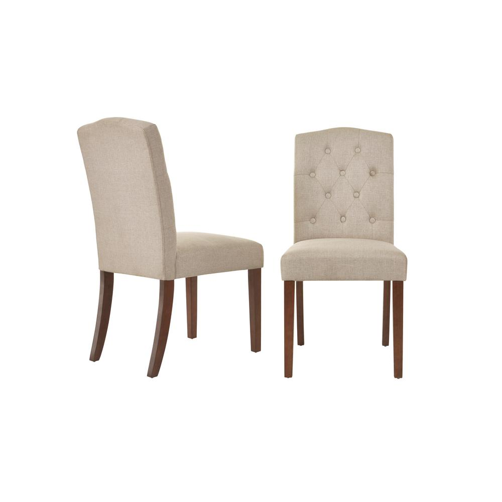 Beckridge Walnut Finish Upholstered Dining Chair with Biscuit Beige Seat (Set of 2) (18.11 in. W x 37.4 in. H)