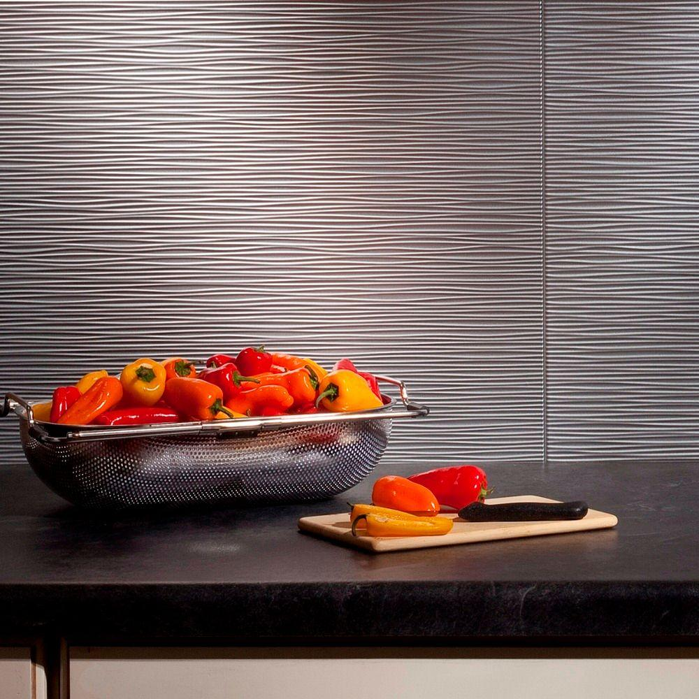 Fasade 24 in. x 18 in. Ripples PVC Decorative Backsplash Panel in Argent Silver