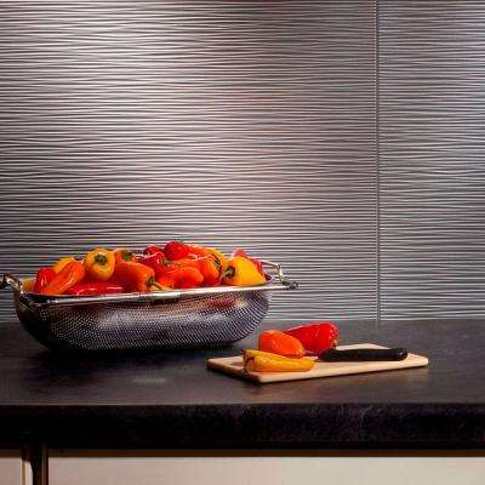 24 in. x 18 in. Ripples PVC Decorative Backsplash Panel in Argent Silver