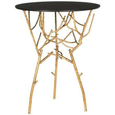 Tara Gold and Black Glass Top End Table