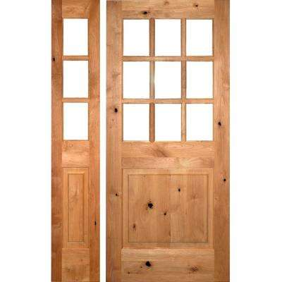 50 in. x 80 in. Craftsman Knotty Alder 9-Lite Unfinished Right-Hand Inswing Prehung Front Door with Left Hand Sidelite