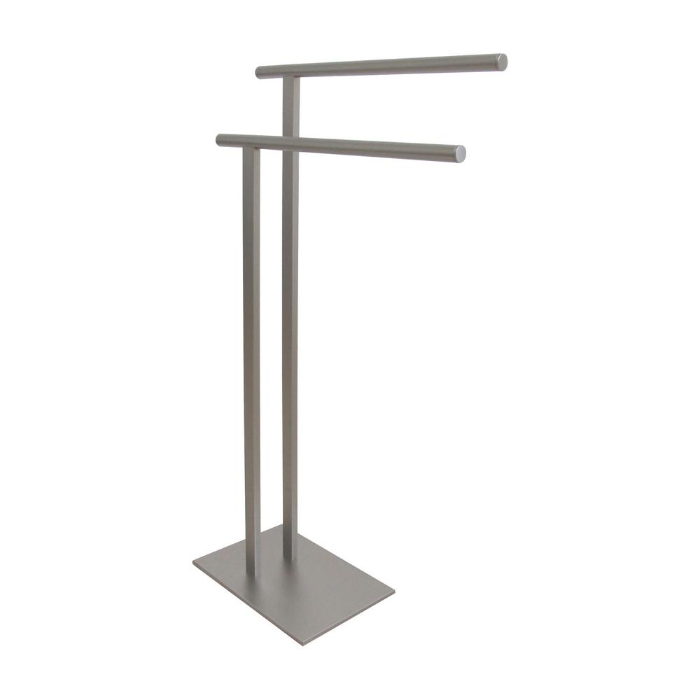 European Pedestal Bath Towel Rack in Satin Nickel