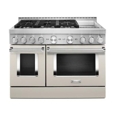 48 in. 6.3 cu. ft. Smart Double Oven Commercial-Style Gas Range with Griddle and True Convection in Milkshake