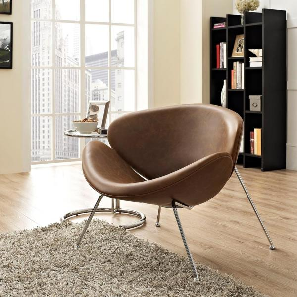 MODWAY Nutshell Upholstered Vinyl Lounge Chair in Brown EEI-809-BRN