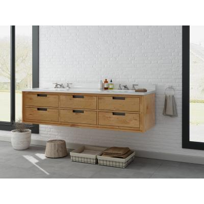 Vinespring 72 in. W x 22 in.D Double Wall Hung Bath Vanity in Wood Tone with Marble Vanity Top in White with White Sink