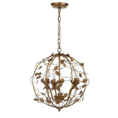 Austen Cage 3-Light Gold Leaf Chandelier