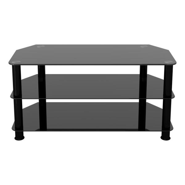 SDC1000BB-A TV Stand for TVs UP TO 50-inch, Black Glass, Black Legs, 100cm