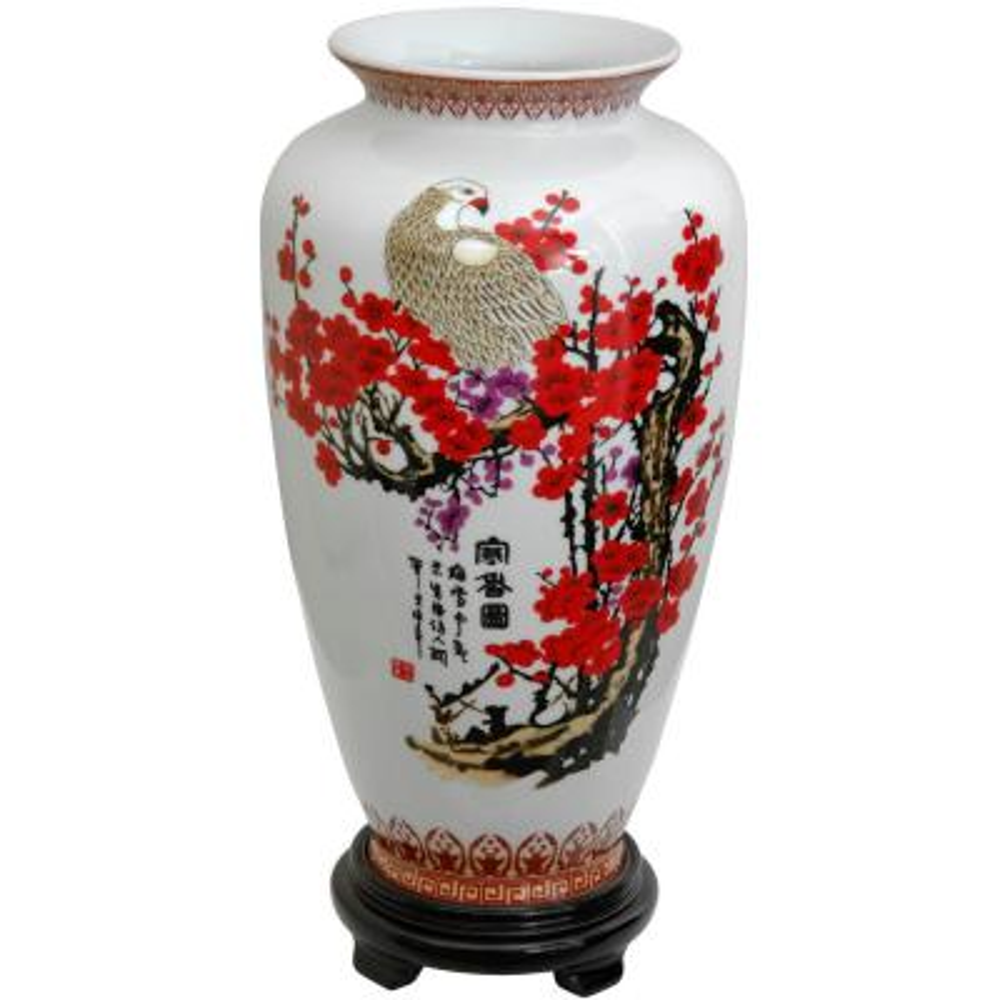 Oriental Furniture 14 in. Porcelain Decorative Vase in White