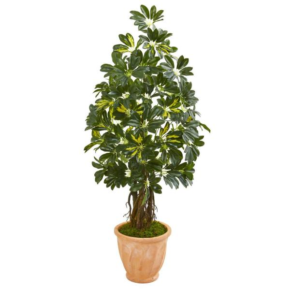 Nearly Natural Indoor 4.5-Ft. Schefflera Artificial Tree in Terra Cotta Planter