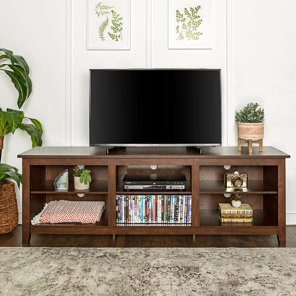 Walker Edison Furniture Company 70 in. Wood Media TV Stand Storage Console - Traditional Brown
