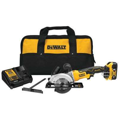 ATOMIC 20-Volt MAX Brushless 4-1/2 in. Cordless Circular Saw Kit with 5.0 Ahr Battery Pack, Charger and Bag
