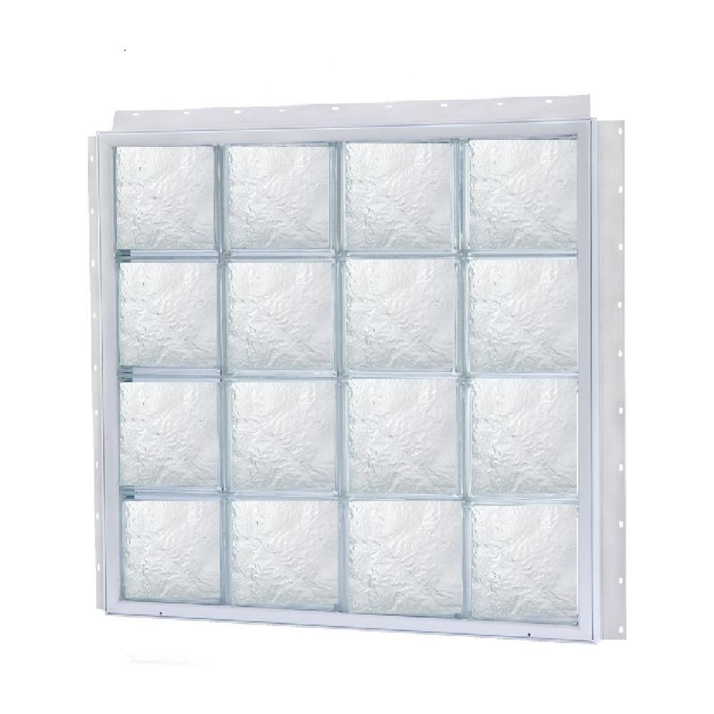 TAFCO WINDOWS NailUp 56 in. x 56 in. x 3-3/4 in. Ice Pattern Solid Glass Block New Construction Window with Vinyl Frame-DISCONTINUED