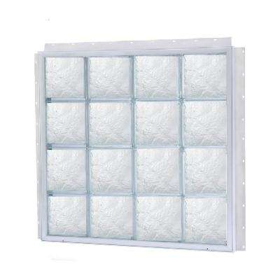 64 in. x 48 in. NailUp Ice Pattern Solid Glass Block New Construction Window with Vinyl Frame