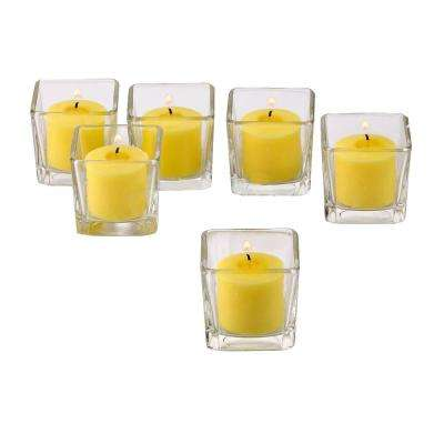 Clear Glass Square Votive Candle Holders with Citronella Yellow Votive Candles Burn 10 Hours (Set of 12)