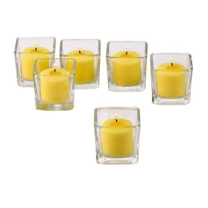 Light In The Dark Clear Glass Square Votive Candle Holders with Citronella Yellow Votive Candles Burn 10 Hours (Set of 12) by Light In The Dark