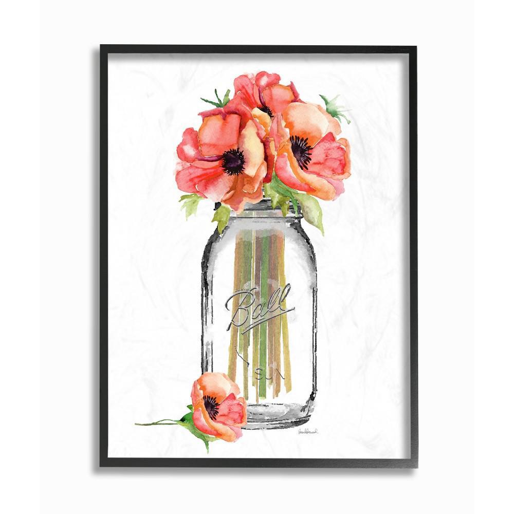"""16 in. x 20 in. """"Mason Jar Poppies"""" by Amanda Greenwood Wood Framed Wall Art"""
