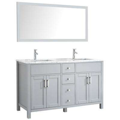 Amaya 60 in. Double Vanity in Grey with Marble Vanity Top in Carrara White with White Ceramic Basins and Mirror