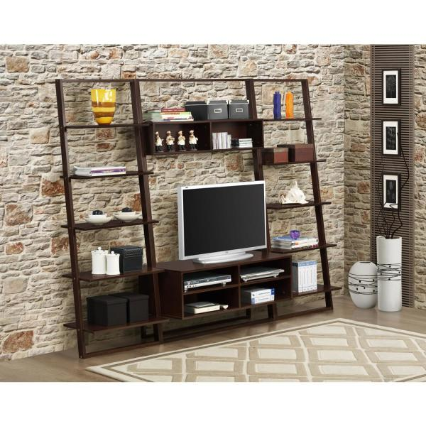 4d Concepts Arlington Dark Cuccino Shelved Entertainment Center