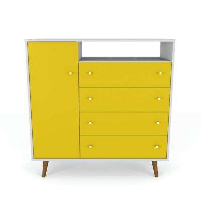 Liberty 42.32 in. 4-Drawer White and Yellow Sideboard
