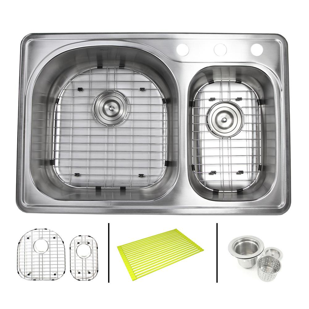 Topmount Drop In Stainless Steel 33 In X 22 In X 8 1 4 In Deep 3 Faucet Holes Double Bowl 70 30 Kitchen Sink Combo Alto 7030 3 Pk The Home Depot