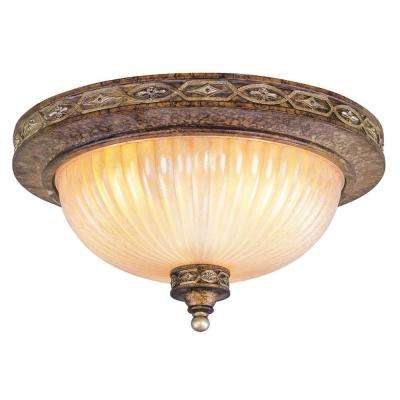 Providence 2-Light Ceiling Palatial Bronze with Gilded Accents Incandescent Flush Mount