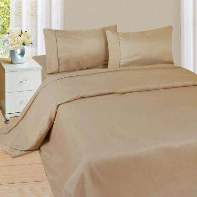 1200 Series 4-Piece Taupe 75 GSM Queen Microfiber Sheet Set