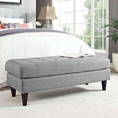 Empress Upholstered Fabric Bench in Light Gray
