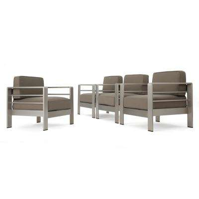 Valentina Deep Seating Aluminum Outdoor Lounge Chair with Khaki Cushions (4-Pack)