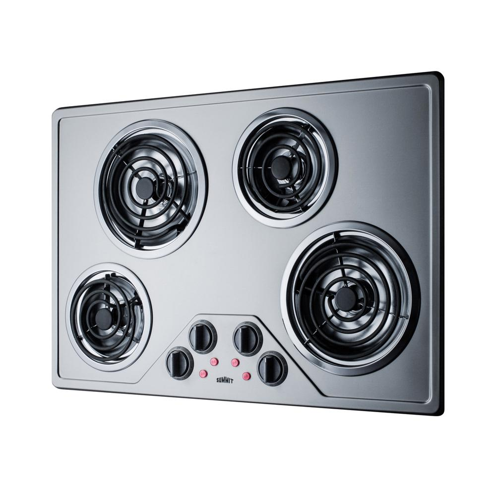 30 Inch Electric Coil Style Cooktop with 4 Elements in Stainless Steel ADA Compliant