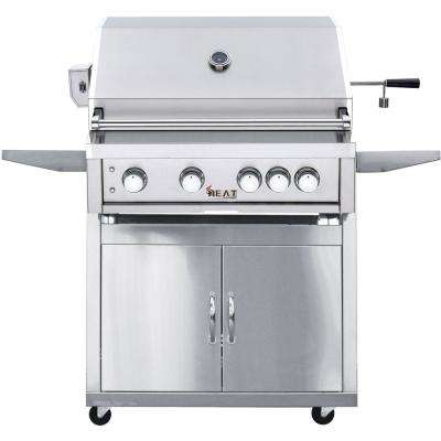 32 in. 4-Burner Natural Gas Grill in Stainless with Cart