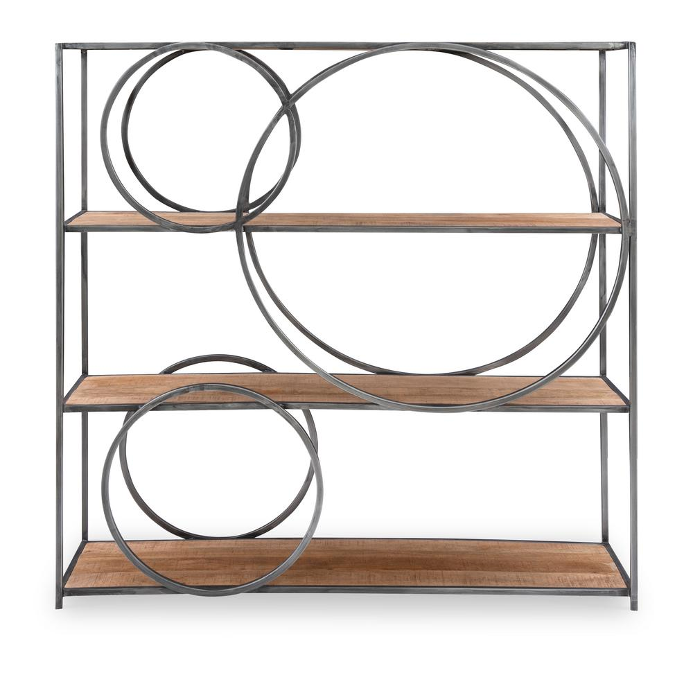 McKeller 48 in. Natural Wood and GunMetal Circle Bookcase with 3 Wooden Shelves