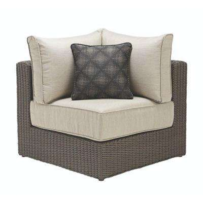Naples Brown All-Weather Wicker Corner Outdoor Sectional Chair with Hinged Cushion with Putty Cushions