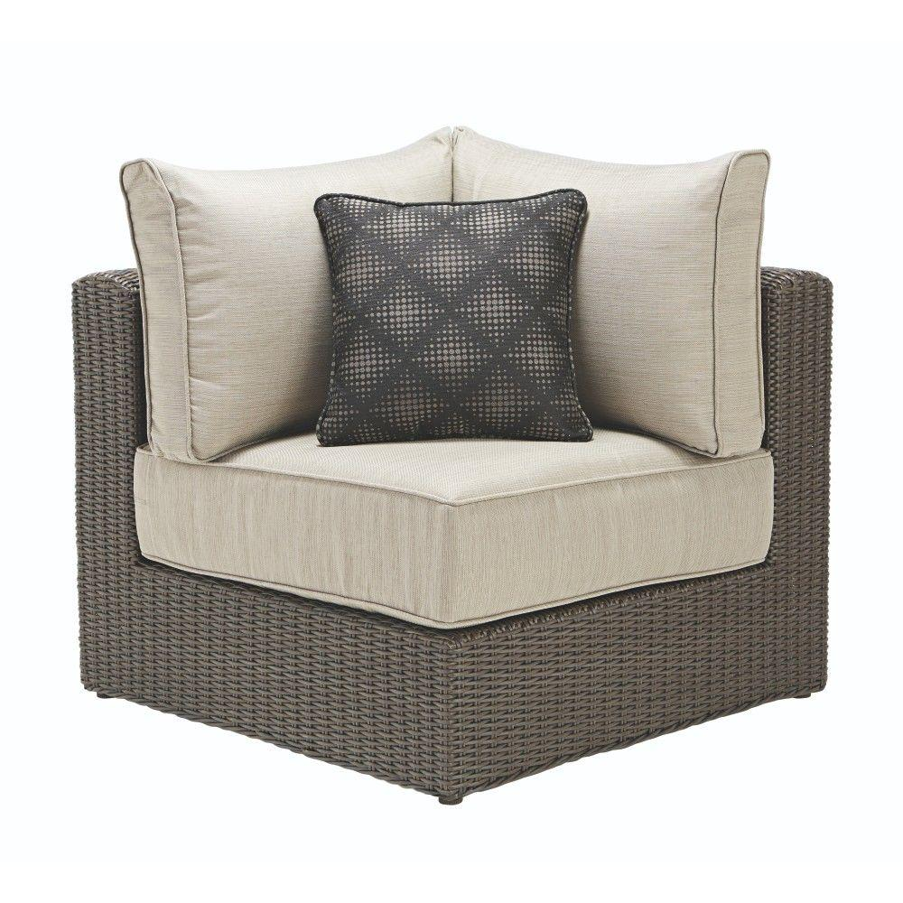 Naples Brown All-Weather Wicker Corner Outdoor Sectional Chair with Hinged