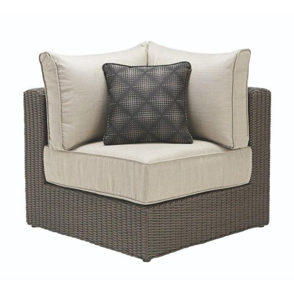 Naples Brown All-Weather Wicker Corner Outdoor Sectional Chair with Putty Cushions