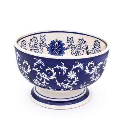 Blue Garden Large Decorative Footed Bowl