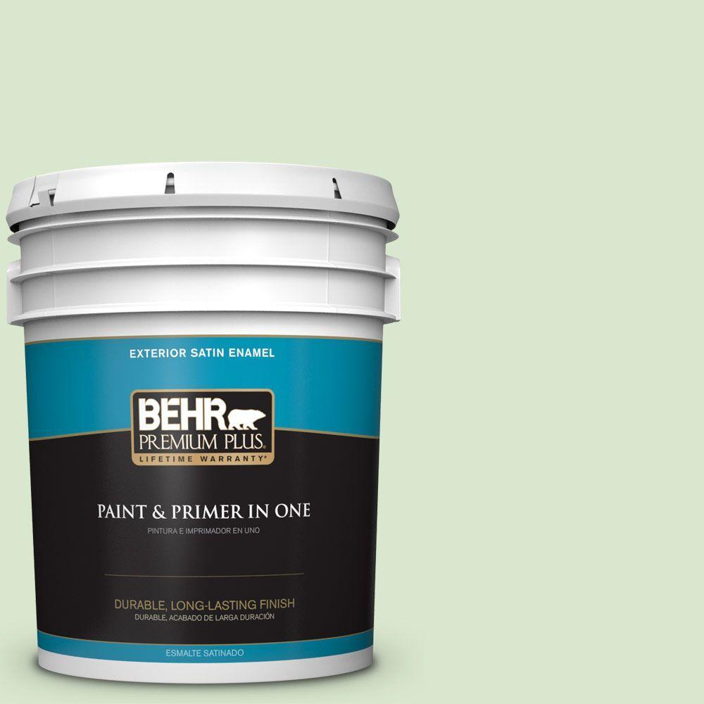 BEHR Premium Plus 5-gal. #T12-18 Minty Frosting Satin Enamel Exterior Paint