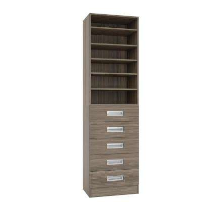 15 in. D x 24 in. W x 84 in. H Firenze Platinum Melamine with 6-Shelves and 5-Drawers Closet System Kit