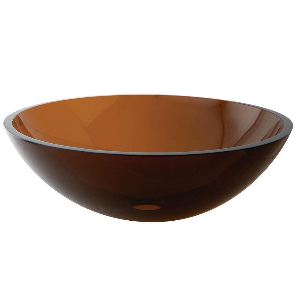 Kingston Brass Round Glass Vessel Sink In Brown HEVSPFW1   The Home Depot