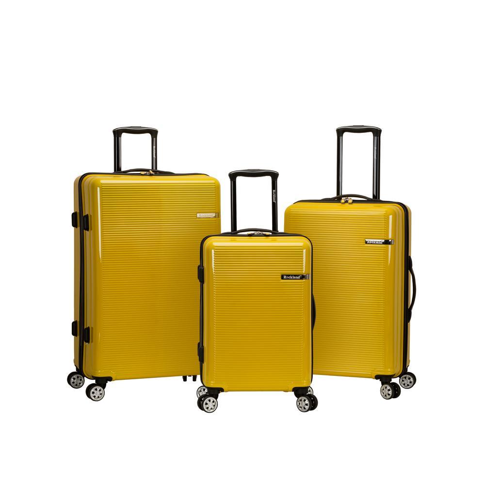 3-Piece Yellow Polycarbonate Luggage Set