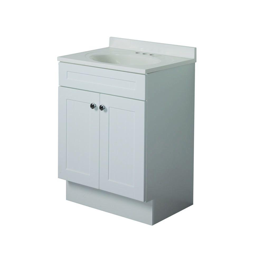 Country 24 in. Vanity in White with AB Engineered Composite Vanity