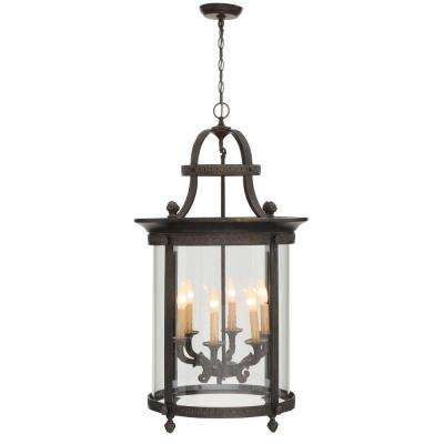 Chatham Collection 6-Light French Bronze Outdoor Hanging Mount Chandelier Lantern
