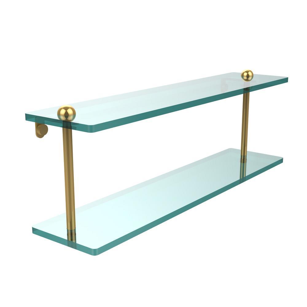 22 in. L  x 8 in. H  x 5 in. W 2-Tier Clear Glass Vanity Bathroom Shelf in Unlacquered Brass