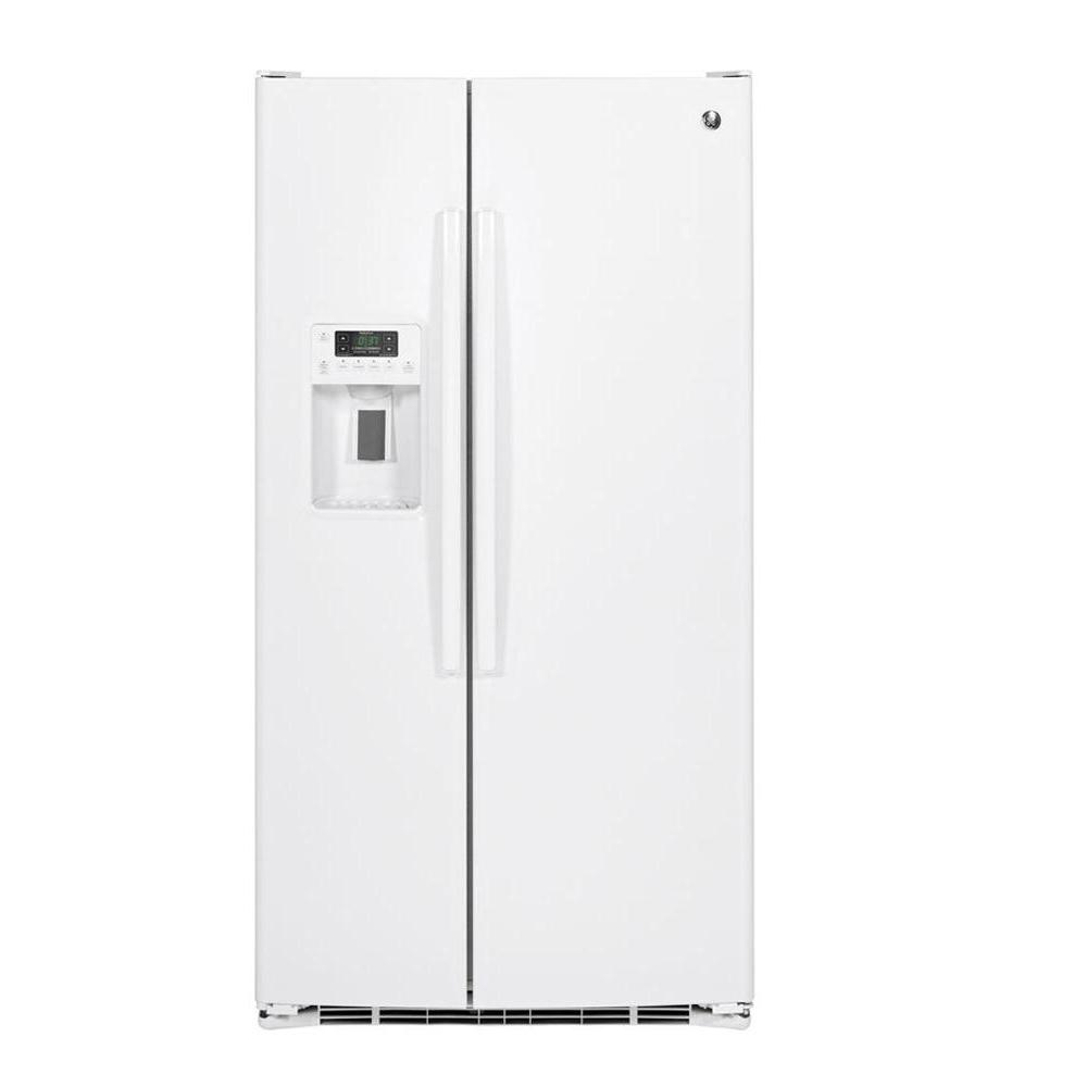 Ge 25 4 Cu Ft Side By Side Refrigerator In White With Icemaker Gse25gghww The Home Depot
